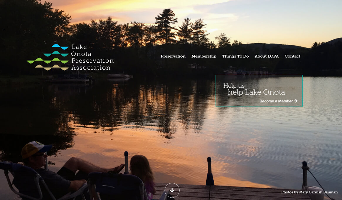 Lake Onota Preservation Association website homepage