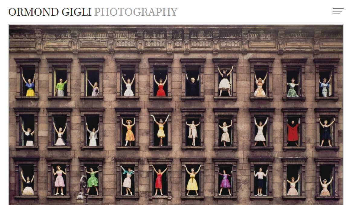 Ormond Gigli Photography website homepage